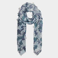 Camo Print Stitched Oblong Scarf