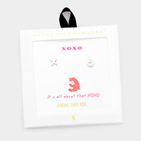 Secret Box _ Metal XO Message Stud Earrings