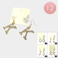 12Pairs - G I J K Rhinestone Monogram Dangle Earrings