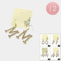 12Pairs - N M O P Rhinestone Monogram Dangle Earrings