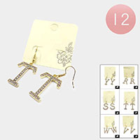 12Pairs - R S T V W Y Rhinestone Monogram Dangle Earrings