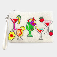 Seed Beaded Cocktail Wristlet Clutch Bag