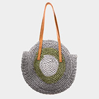Two Tone Straw Round Shoulder Bag