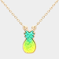 Druzy Pineapple Pendant Necklace