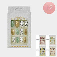 12Pack - Animal Pattern Butterfly Print Assorted Press on Nails