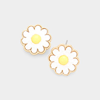 Druzy Daisy Flower Stud Earrings