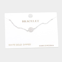 White Gold Dipped CZ Round Charm Bracelet