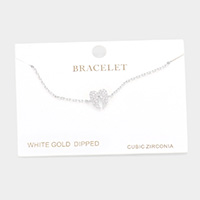 White Gold Dipped CZ Wings Charm Bracelet