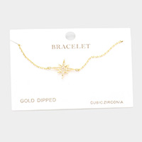 Gold Dipped CZ North Star Charm Bracelet