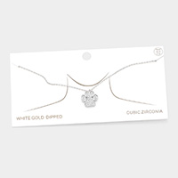 White Gold Dipped CZ Paw Pendant Necklace