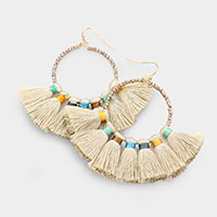 Faceted Beaded Open Circle Tassel Fringe Earrings