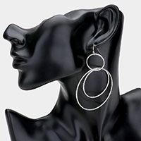 Triple Metal Open Circle Link Layered Dangle Earrings