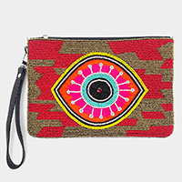 Embroidery Seed Beaded Evil Eye Wristlet Clutch Bag