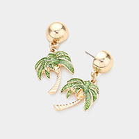 Glitter Palm Tree Dangle Earrings