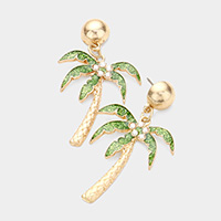 Glitter Pearl Palm Tree Dangle Earrings