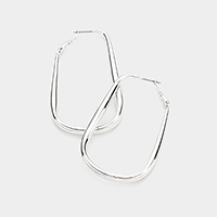 14K White Gold Plated Hypo Allergenic Brass Metal Rectangle   Hoop Earrings