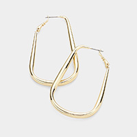 14K Gold Plated Hypo Allergenic Brass Metal Rectangle Hoop Earrings