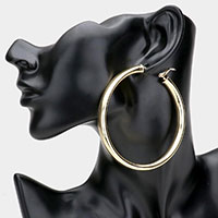 14K Gold Plated Hypo Allergenic Brass Metal Hoop Earrings