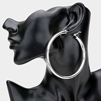 14K White Gold Plated Hypo Allergenic Brass Metal Hoop Earrings