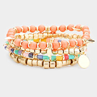 4PCS - Metal Disc Charm Beaded Stretch Bracelets