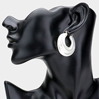 Pearl Hoop Pin Catch Earrings