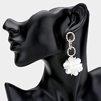 Rhinestone Embellished Metal Link Teardrop Bead Cluster Ball Dangle Earrings