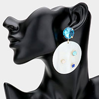 Stone Embellished Mother of Pearl Round Dangle Earrings