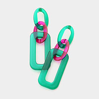 Geometric Colored Lucite Link Dangle Earrings