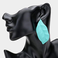 Colored Metal Leaf Earrings
