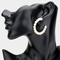 Pearl Half Hoop Earrings