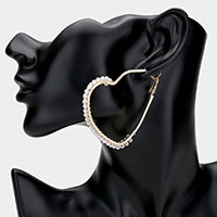 Wrapped Pearl Detail Open Heart Hoop Earrings
