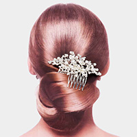 Pearl Accented Leaf Hair Comb