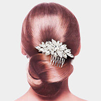 Marquise Stone Accented Leaf Hair Comb
