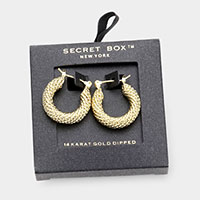 Secret Box _ 14K Gold Dipped Textured Metal Hoop Pin Catch Earrings