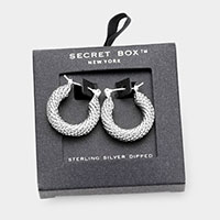 Secret Box _ Sterling Silver Dipped Textured Metal Hoop Pin Catch Earrings