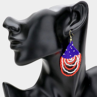 American USA Flag Draped Seed Beaded Dangle Earrings