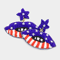 Felt Back Seed Bead Star American USA Flag Lip Dangle Earrings