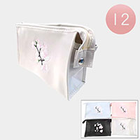 12PCS - Embroidery Flower Pouch Bags