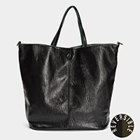 2PCS - Reversible Faux Leather Tote Bag Cosmetic Pouch Set
