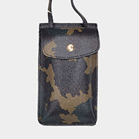 Camouflage Pattern Faux Leather Travel Neck Pouch Bag