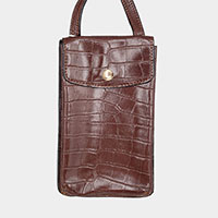 Alligator Pattern Faux Leather Travel Neck Pouch Bag