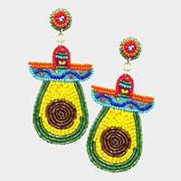 Felt Back Beaded Avocado Dangle Earrings
