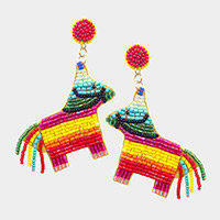 Felt Back Colorful Beaded Serape Donkey Pinatas Dangle Earrings