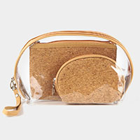 3PCS - Wood Pattern Clear Pouch Bags
