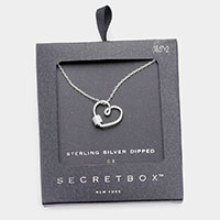 Secret Box _ Sterling Silver Dipped CZ Embellished Metal Heart Pendant Necklace