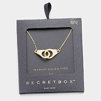 Secret Box _ 14K Gold Dipped CZ Embellished Metal Handcuffs Pendant Necklace