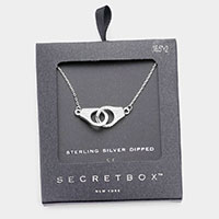 Secret Box _ Sterling Silver Dipped CZ Embellished Metal Handcuffs Pendant Necklace