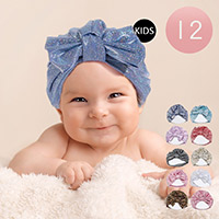 12PCS - Glitter Bow Baby Toddler Kids Turban Hats