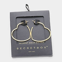 Secret Box _ 14K Gold Dipped Metal Heart Hoop Earrings