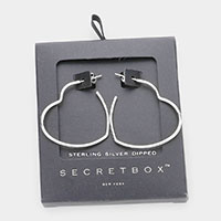 Secret Box _ Sterling Silver Dipped Metal Heart Hoop Earrings